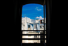 View from the hotel (chrishayworth) Tags: blue sky paris france streets window buildings hotel rooftops railing
