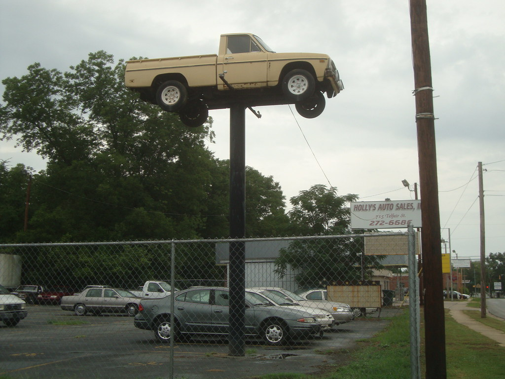 Pickup truck on a pole