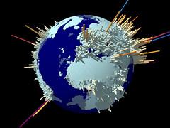 Графическое распределение населения планеты по земной поверхности