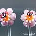 Earring : Pink Flower Blossom Ladybug Pair