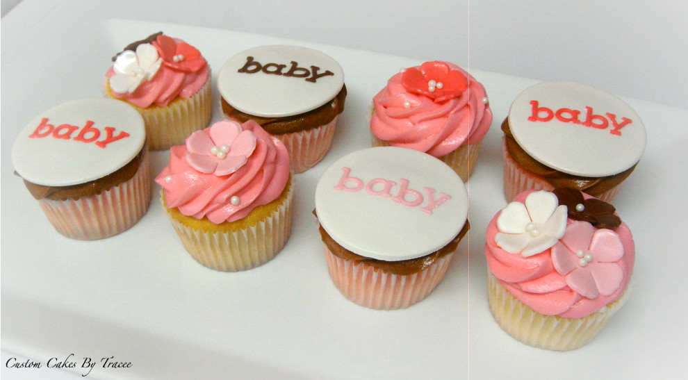 Pink and brown baby shower cupcakes