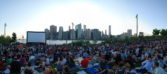 OpenAirCinema besides the Brooklyn Bridge