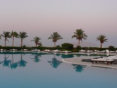 Pool at Baron Resort, Egypt (Tasmin_Bahia) Tags: summer sky mountain holiday hot reflection water pool reflections warm day cloudy egypt sharmelsheikh peaceful calm palmtrees bushes sunbeds tiranisland baronresort