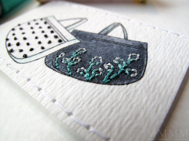 teensy stitching on the Amber Ink purse -melstampz