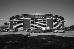 Shea Stadium - New York Mets (Frank Footer Fotos) Tags: park new york blue sky sun white ny black art cars home sports field sunshine wall architecture yard vintage ball photography office baseball stadium framed parking fine lot murals sunny landmark ramps retro arena queens nostalgia national posters buy prints coliseum autos decor mets shea ballpark league attractions obsolete citi flushing