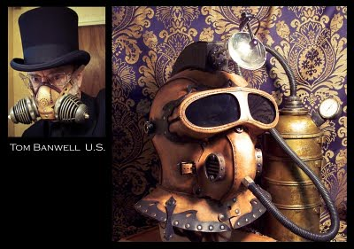 Steampunk Diving Helmet with artist's photo