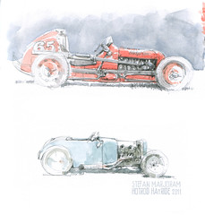 dirt track midget racers (Stefan Marjoram) Tags: car pencil vintage sketch drawing watercolour hotrod hayride dragster urbansketches
