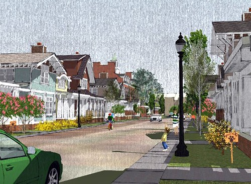 streetscape of SchoolStreet Homes as conceived (rendering via SchoolStreetLibertyville.com)