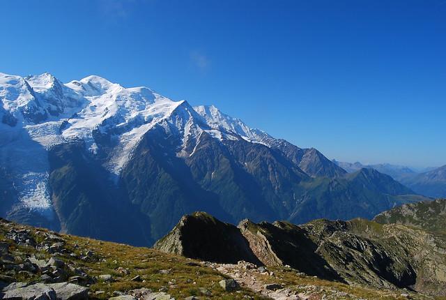 El macizo del Mont Blanc desde las Agujas Rojas