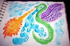 Dragon Fire in Watercolor (DreamersRKewl) Tags: sky animal pencil watercolor mammal fire sketch flying wings dragon drawing breath scales stephanie breathe bohlen