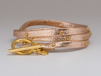 Gorjana Leather Wrap Studded Bracelet in Rose Gold