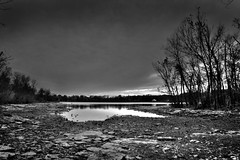 Drought (jackaloha2) Tags: trees lake water weather photoshop canon mono evening rocks tennessee drought extremes canoneosdigitalrebelxsi magicunicornverybest sbfmasterpiece sbfgrandmaster jackaloah2