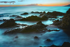 Maui, Hawaii Sunset with long exposure rocks (Don Briggs) Tags: ocean longexposure sunset beach rocks mauihawaii donbriggs