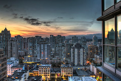 Room with View 2 at Sunrise - HDR (David Gn Photography) Tags: city morning sky canada reflection vancouver clouds sunrise buildings dawn lights hotel early downtown raw cityscape bc view britishcolumbia scene resort roomwithaview hdr mountbaker condominiums 3xp worldmark thecanadian canoneos7d sigma2470mmf28ifexdghsm sigma50th