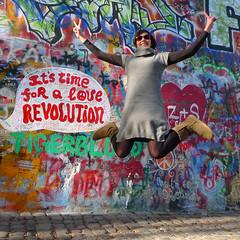 John Lennon Wall - March, 2011 (RodaLarga) Tags: jumping grafitti czechrepublic lennon