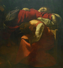 Caravaggio, Death of the Virgin with detail of the Virgin