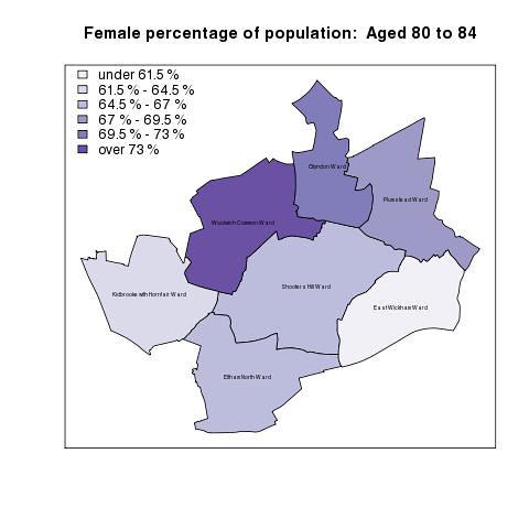 Female percentage of population:  Aged 80 to 84