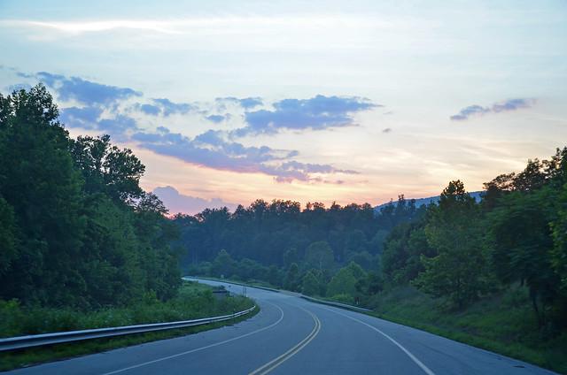 On the road through the Blue Ridge Mountains