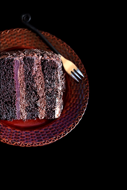 Hot Water Chocolate Cake with chocolate cream, liqueur and wild berry jelly