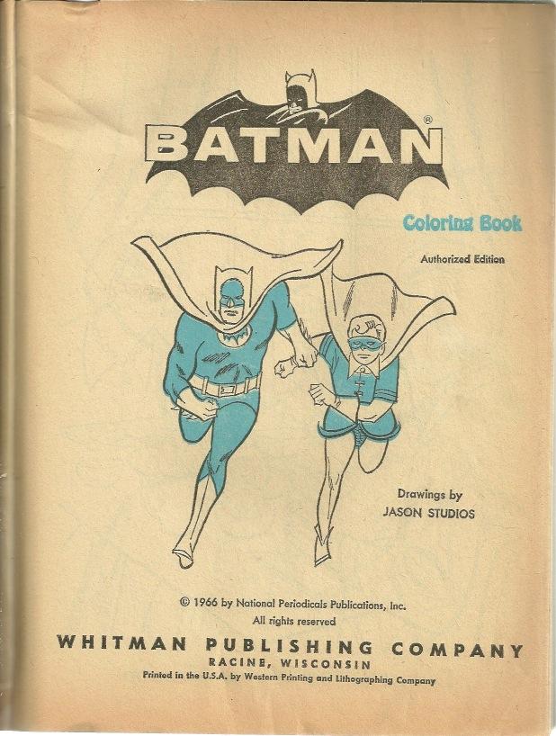 The Batcave Trophy Room!: 1966 Coloring Book, Part 1!