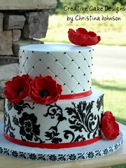 Red Anemone Buttercream Cake (Christina's Dessertery) Tags: flowers red black floral cake anemone stenciling damask buttercream gumpaste christinajohnson dragees diamondquilting creativecakedesigns