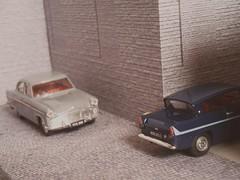 Papa's Zodiac, Uncle's Anglia 6 (dougie.d) Tags: ford scotland garage shed zephyr zodiac 1960s bentley diorama matchbox vanguard dinky anglia ayrshire lledo
