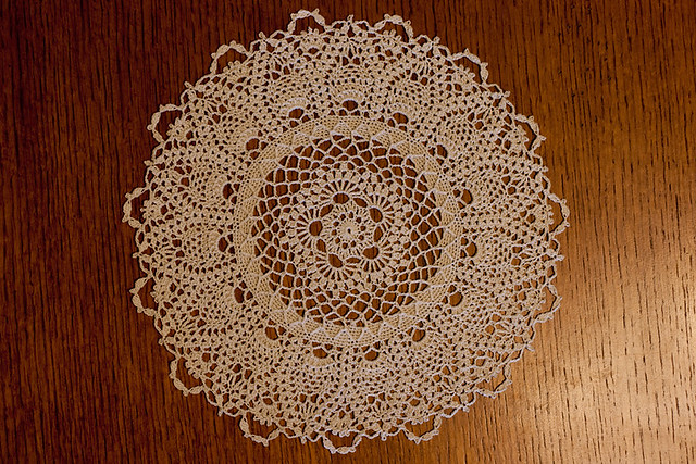 Pretty Ecru Pineapples Doily