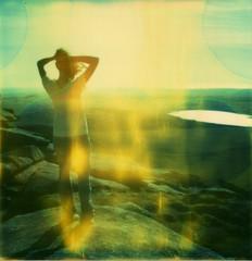 Dragged backwards through a dream. (caballosblancos) Tags: wild sun lake silver polaroid sx70 fire cornwall space dream emilie moor expired timezero bodmin roidweek