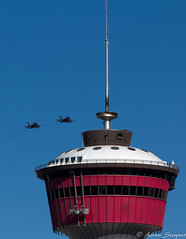 """Permission to buzz the tower?"" (BigtimeYYC) Tags: summer canada calgary canon alberta hornets stampede calgarytower rcaf cf18 calgarystampede canadianforces royalcanadianairforce cf188 eos550d rebelt2i"