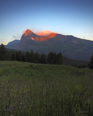 Sunrise and peak (Robyn Hooz) Tags: orange mountain grass sunrise canon eos alba first sigma peak erba prima montagna luce dolomites dolomiti arancione rolle passo picco passorolle hsm 550d 1020ex castellaz