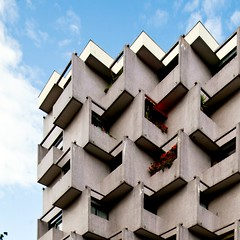 Escher (Chimay Bleue) Tags: paris france architecture modern french concrete apartment geometry balcony modernism architect escher appartement balcon cailles brutalism modernist beton brutalist francais brut buttes