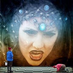 womans power (Eddi van W.) Tags: woman texture film dark fun power kali dracula archetype zwerg