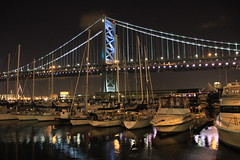 Ben Franklin Bridge (Darren LoPrinzi) Tags: bridge philadelphia water boats bridges nightscene canoneos7d
