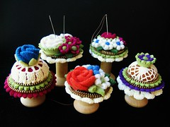 A few spool pincushions (woolly  fabulous) Tags: flowers wool wooden recycled felt zipper pincushion spool
