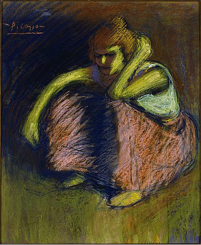 PABLO PICASSOLa Jupe Rouge, 1901Pastel on board2 (55.4 x 47cm)