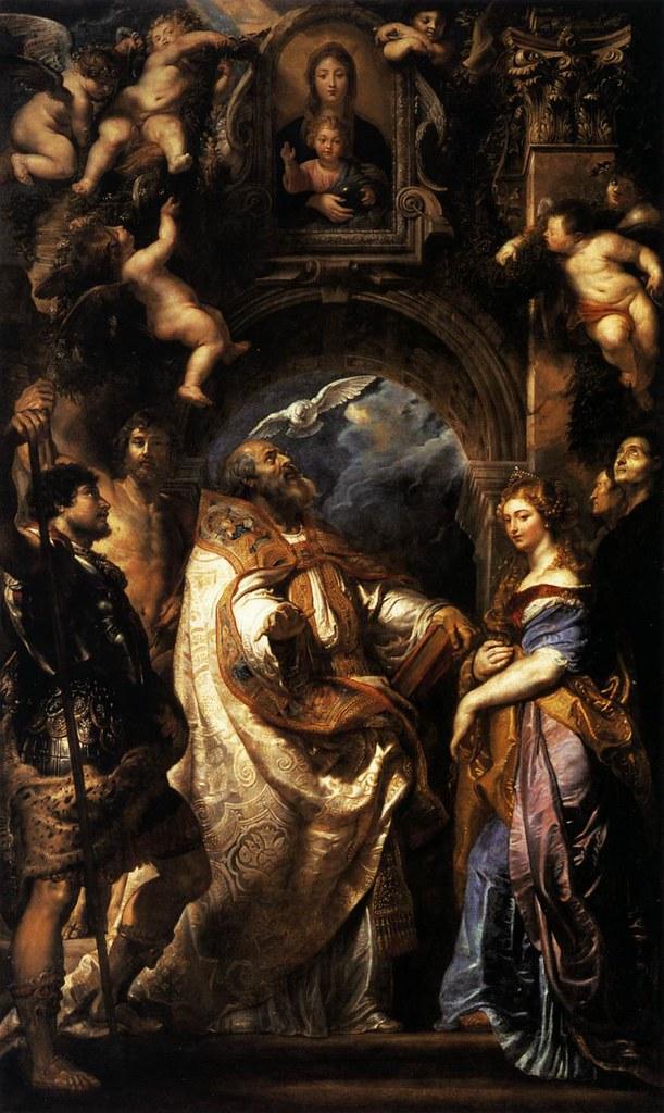 Rubens, St Grégoire, pape, entouré de Saints et de Saintes (1608)