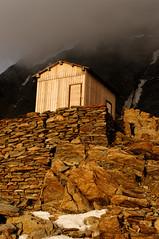 Sunset on the rocks (gyorigabor) Tags: sunset mountain rock refugee hut montblanc