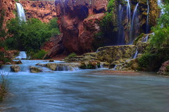 Graceful veils (Chief Bwana) Tags: arizona waterfall 100views 300views 200views supai havasupai mooneyfalls havasupaicanyon bluegreenwater psa104 chiefbwana