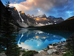 Mountain Light (Surreal McCoy (Alvin Brown)) Tags: light mountain lake canada alberta banff morainelake