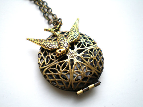 Fly Above - Antique Gold Locket and Swallow Necklace