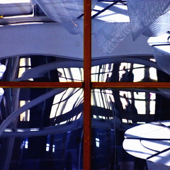 through the square window (gregjack!) Tags: wood blue light people reflection window glass lines silhouette square scotland edinburgh curves fragment