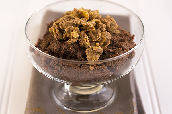 Milk Chocolate Peanut Butter Mousse with Crunch Topping
