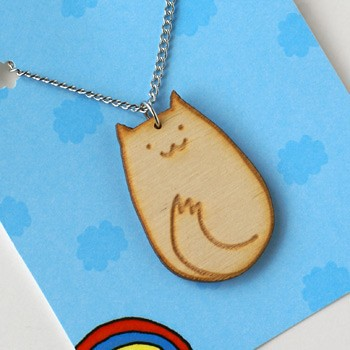 Here is the Happy Kitty Necklace I made for Shanalogic.