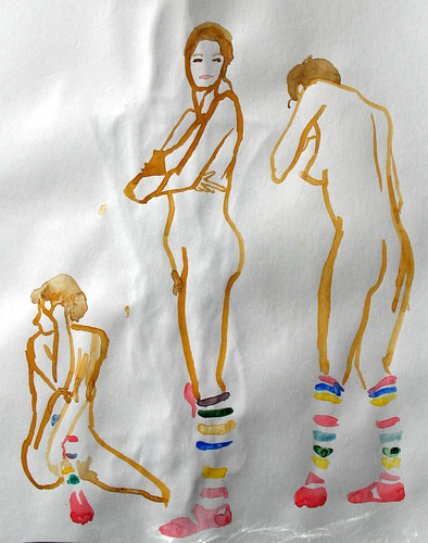 Three quick sketches of a nude woman wearing rainbow stockings