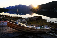 Boat in Kaldfjord,Troms (John A.Hemmingsen) Tags: sunset sun seascape reflection nature landscape norge nikon nordnorge troms nikkor1685dx