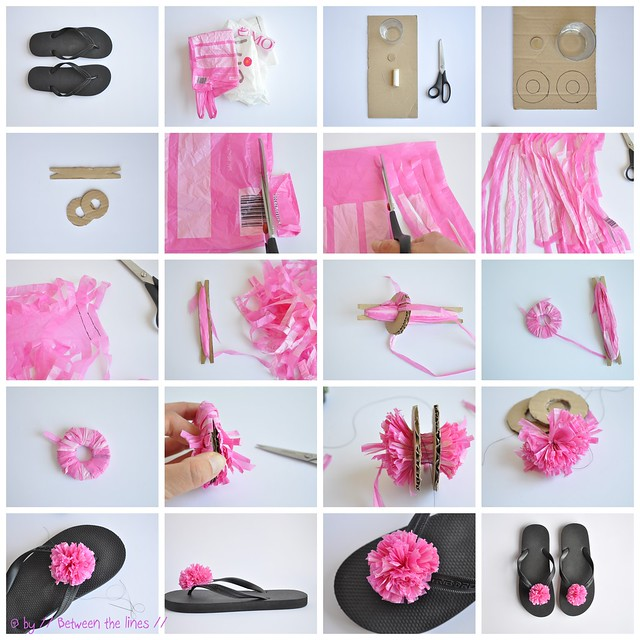 plastic bag flower slippers
