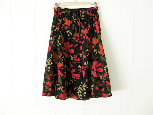 black floral button front skirt