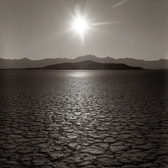 Sunset over King Lear Peak, Black Rock Desert, Nevada (austin granger) Tags: sunset mountain mediumformat empty nevada playa yashicamat blackrockdesert drylake kinglearpeak austingranger