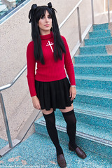 Rin Tohsaka of Fate Stay Night. (FJT Photography) Tags: pink girls red brown white black anime sexy green stockings garter beautiful leather socks japan female night canon hair asian eos japanese la costume video los women punk pretty comic mask expo angeles cosplay lace gothic models chinese manga silk fishnet games fate wig superhero animation latex 28 otaku ax knee pantyhose 2009 con nylon spandex striped lacc stay rin 2012 2010 sdcc 2011 1755mm rintohsaka tohsaka 60d animeexpo2011 ax2011