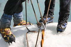 Start ice climbing (!.Keesssss.!) Tags: newzealand people horizontal outdoors photography boot foot rope adventure climbing exploration limb twopeople iceclimbing carefree gettyimages spiked cleats royaltyfree humanleg coldtemperature humanlimb lowsection humanbodypart theflickrcollection keessmans 225ksgetty